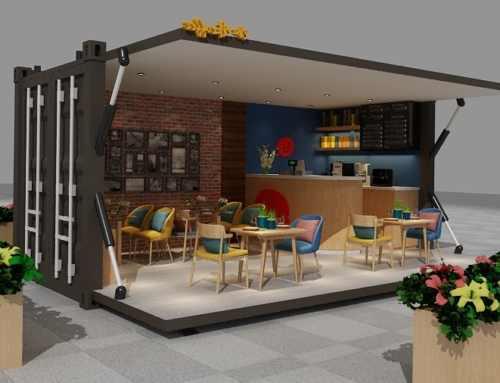 Bar restaurante dentro de un contenedor marítimo