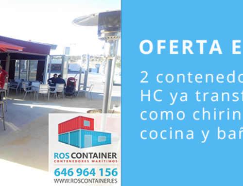 Oferta. Bajamos el precio de 2 contenedores de 12 metros HC ya transformados como chiringuito + cocina y baños: 19.950 €